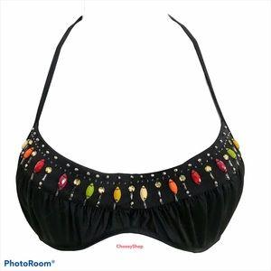 VS Bead & Rhinestone Black Embellished Bikini Top